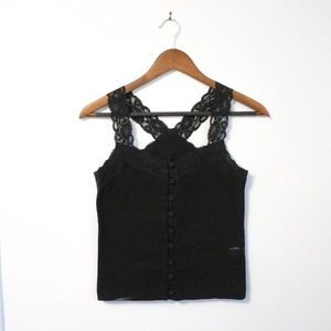 Lace Cross Back Button Up Tank Top